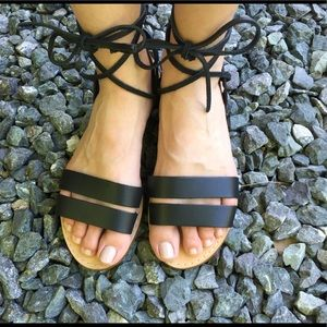 Madewell boardwalk ankle tie sandals size 6